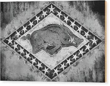 The Arkansas Razorbacks Black And White Wood Print by JC Findley