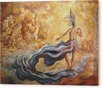The Arrival Of The Goddess Of Consciousness Wood Print by Darwin Leon