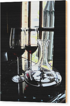 The Art Of Wine Wood Print by Alicia Morales