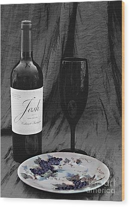 The Art Of Wine And Grapes Wood Print by Sherry Hallemeier