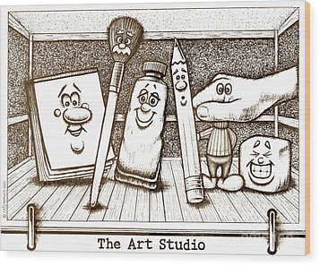 The Art Studio Wood Print by Cristophers Dream Artistry