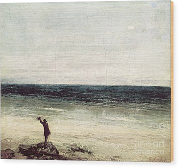 The Artist On The Seashore At Palavas Wood Print by Gustave Courbet