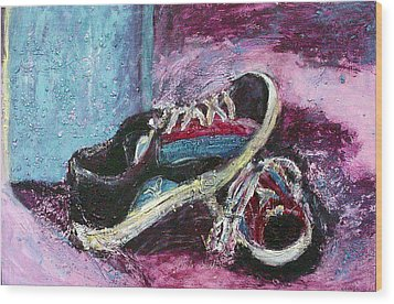 The Artists Shoes Wood Print by Sarah Crumpler