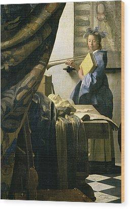 The Artists Studio Wood Print by Jan Vermeer