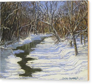 The Assabet River In Winter Wood Print by Jack Skinner