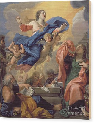 The Assumption Of The Virgin Wood Print by Guillaume Courtois