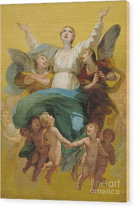 The Assumption Of The Virgin Wood Print by Pierre Paul Prudhon