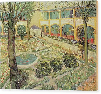 The Asylum Garden At Arles Wood Print by Vincent van Gogh