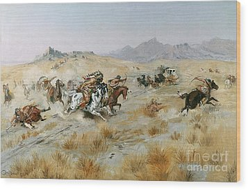The Attack Wood Print by Charles Marion Russell