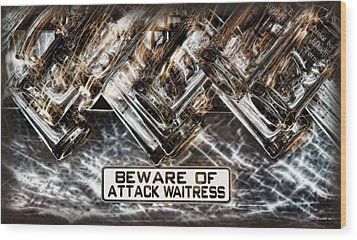 The Attack Waitress  Wood Print by Joan  Minchak