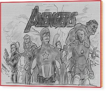 The Avengers Wood Print by Chris  DelVecchio