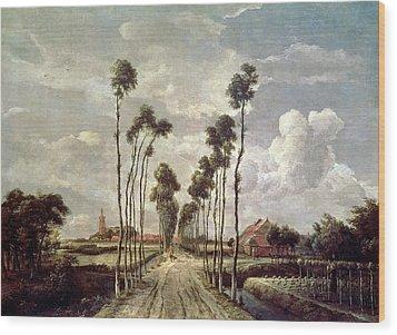 The Avenue At Middelharnis Wood Print by Meindert Hobbema