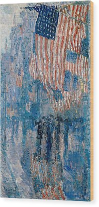 Wood Print featuring the painting The Avenue In The Rain - 1917 by Frederick Childe Hassam