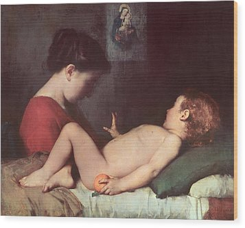 The Awakening Child Wood Print by Jean Jacques Henner