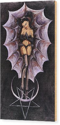 the Awakening of Lucifer and Diana Wood Print by Gabriel Alcaraz