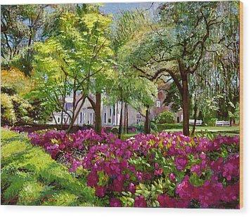 The Azaleas Of Savannah Wood Print by David Lloyd Glover