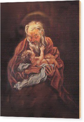 Wood Print featuring the painting The Baby Jesus - A Study by Donna Tucker