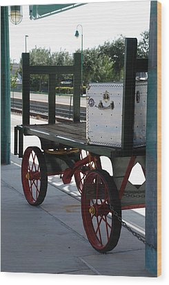 The Baggage Cart And Truck Wood Print by Rob Hans