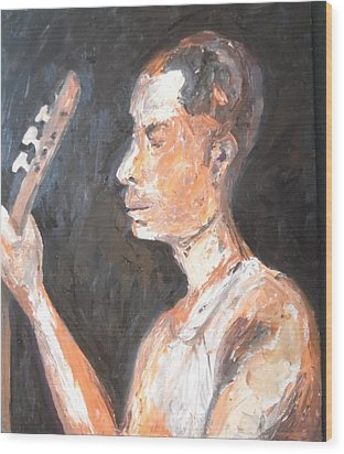 Wood Print featuring the painting The Baglama Player by Esther Newman-Cohen