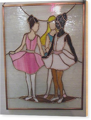 The Ballet Dancers In Stained Glass Wood Print by Arlene  Wright-Correll