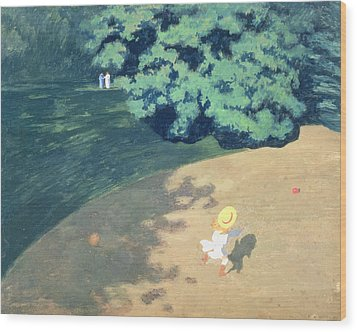 The Balloon Or Corner Of A Park With A Child Playing With A Balloon Wood Print by Felix Edouard Vallotton