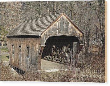 The Baltimore Covered Bridge - Springfield Vermont Usa Wood Print by Erin Paul Donovan