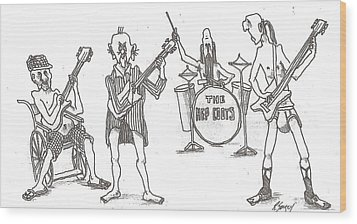 Wood Print featuring the drawing The Band by R  Allen Swezey