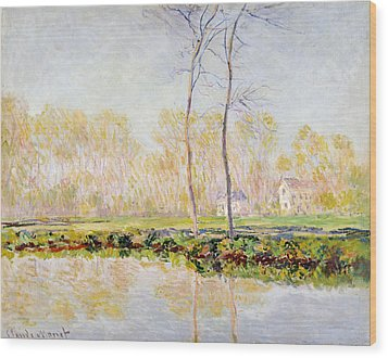 The Banks Of The River Epte At Giverny Wood Print by Claude Monet