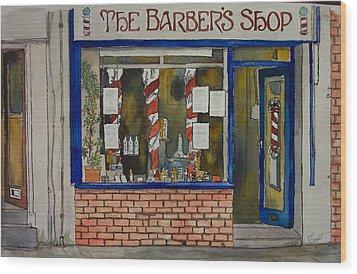 The Barber Shop Wood Print by Victoria Heryet