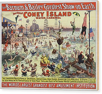 The Barnum And Bailey Greatest Show On Earth The Great Coney Island Water Carnival Wood Print
