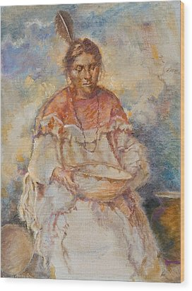 The Basket Maker Wood Print