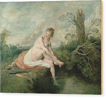 The Bath Of Diana Wood Print by Jean Antoine Watteau