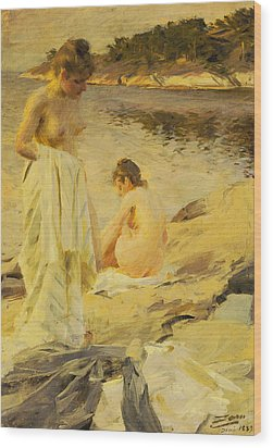 The Bathers Wood Print by Anders Leonard Zorn