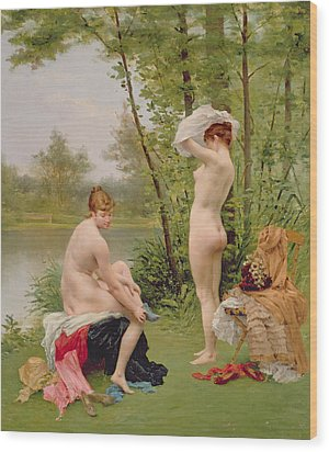 The Bathers Wood Print by Jules Scalbert