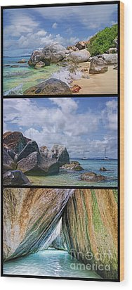 The Baths Virgin Gorda National Park Triptych Wood Print by Olga Hamilton