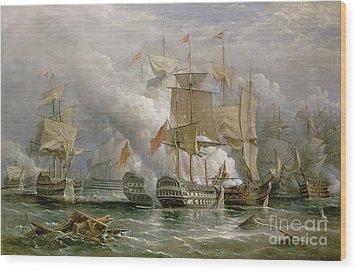 The Battle Of Cape St Vincent Wood Print by Richard Bridges Beechey