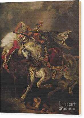 The Battle Of Giaour And Hassan Wood Print by Ferdinand Victor Eugene Delacroix