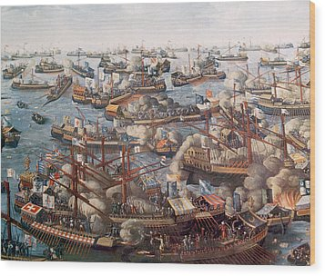 The Battle Of Lepanto, The Fleet Wood Print by Everett