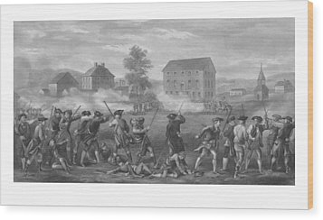 The Battle Of Lexington Wood Print by War Is Hell Store
