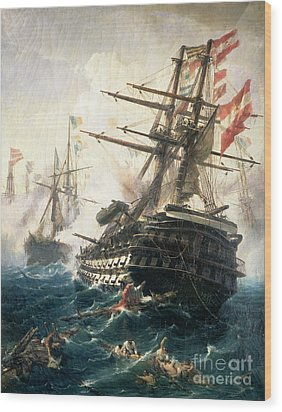 The Battle Of Lissa Wood Print by Constantin Volonakis
