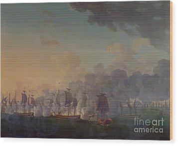 The Battle Of Louisbourg On The 21st July 1781 Wood Print by Auguste Rossel De Cercy