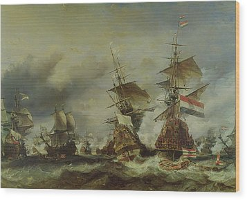 The Battle Of Texel Wood Print by Louis Eugene Gabriel Isabey