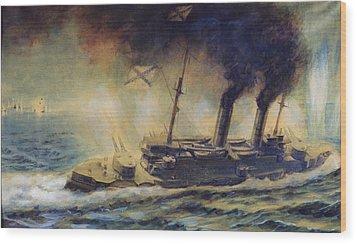 The Battle Of The Gulf Of Riga Wood Print by Mikhail Mikhailovich Semyonov