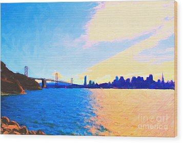 The Bay Bridge And The San Francisco Skyline Wood Print by Wingsdomain Art and Photography