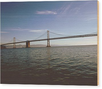 Wood Print featuring the mixed media The Bay Bridge- By Linda Woods by Linda Woods