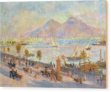 The Bay Of Naples With Vesuvius In The Background Wood Print by Pierre Auguste Renoir