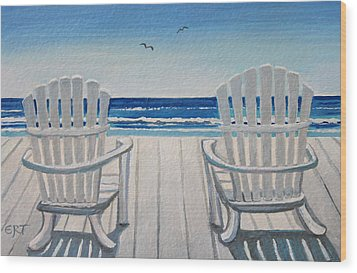 The Beach Chairs Wood Print by Elizabeth Robinette Tyndall