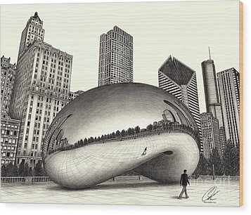 The Beach Chicago Drawing Wood Print