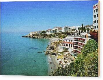 Wood Print featuring the photograph The Beach - Nerja Spain by Mary Machare