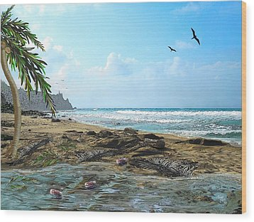 The Beach Wood Print by Tony Rodriguez